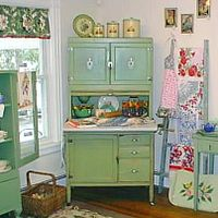 Napanee Hoosier Kitchen Cabinet, Oak Roll Top