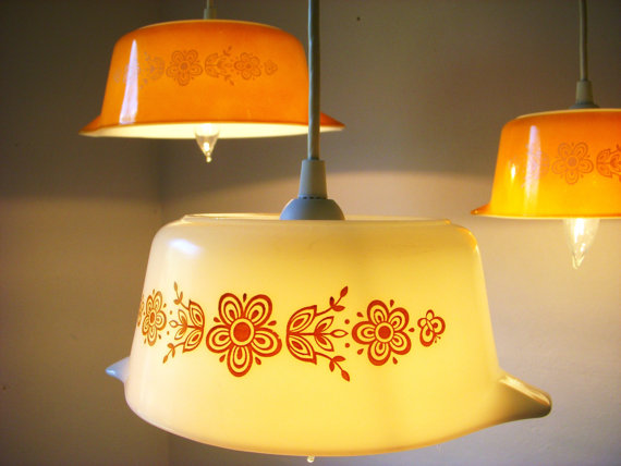 Summer Sunlight Butterfly Gold Pattern Pyrex Pendant Lights - UpCycled ReCycled Hanging Lighting Fixture - Set of 3 Reclaimed Mixing Bowl Light