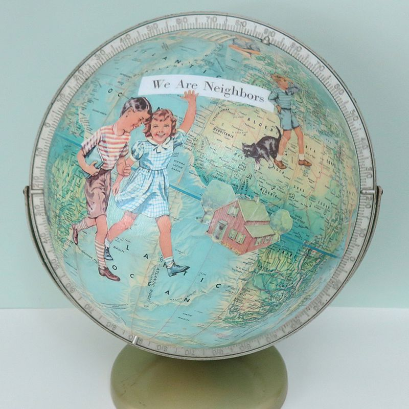 New World Globe Altered Art