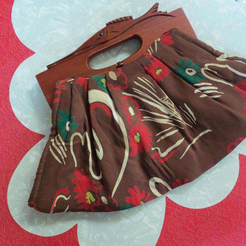 Fabric & wood purse
