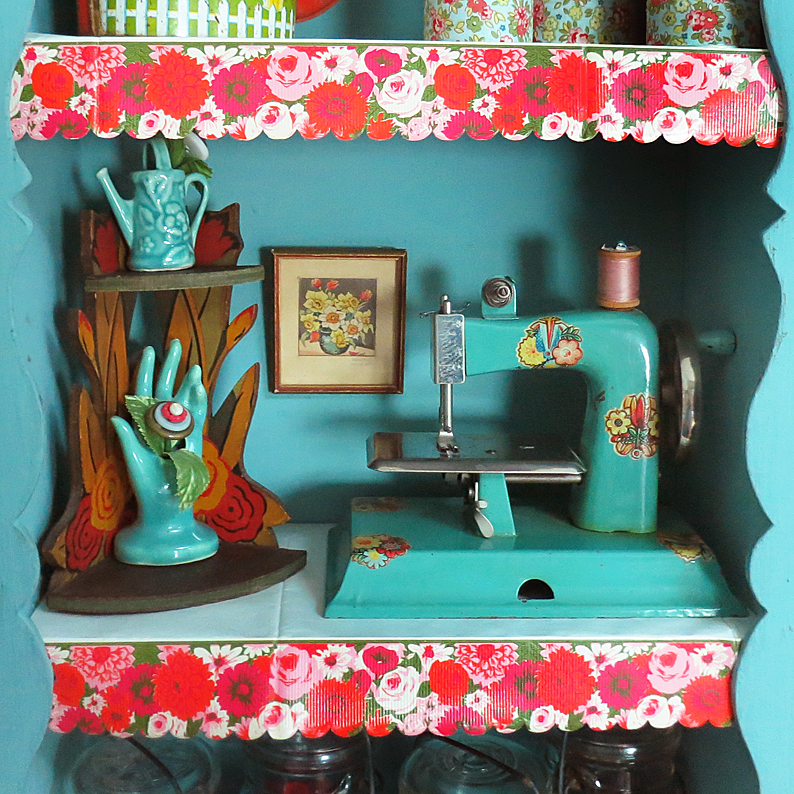 T-Party Antiques shelves with liner