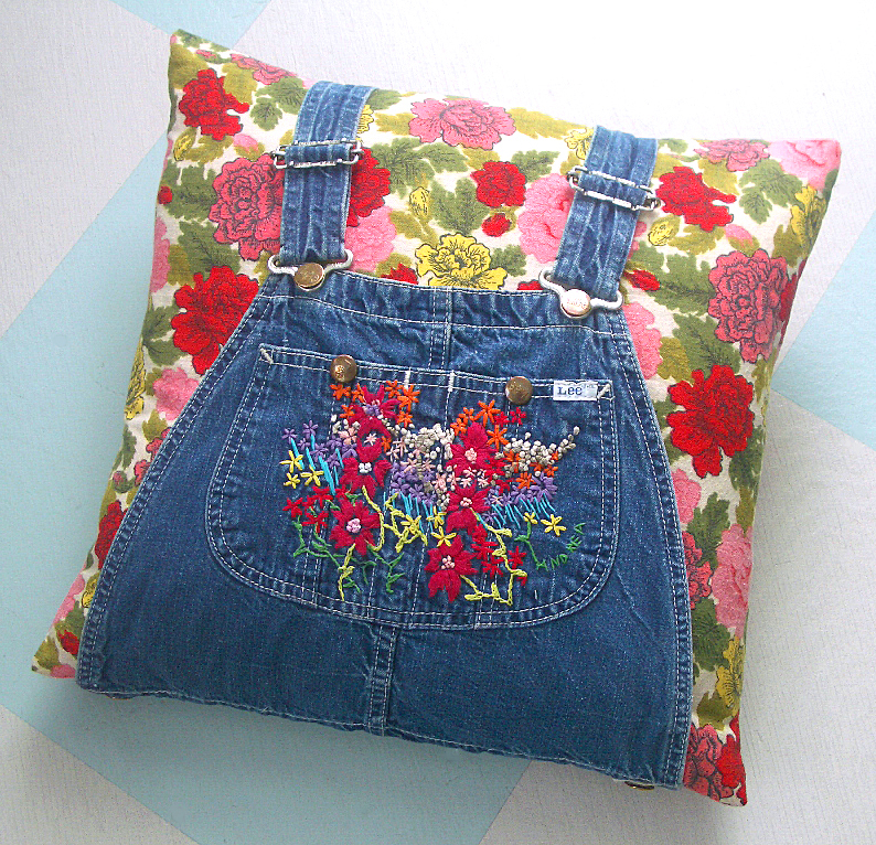 T-Party Antiques overalls pillow